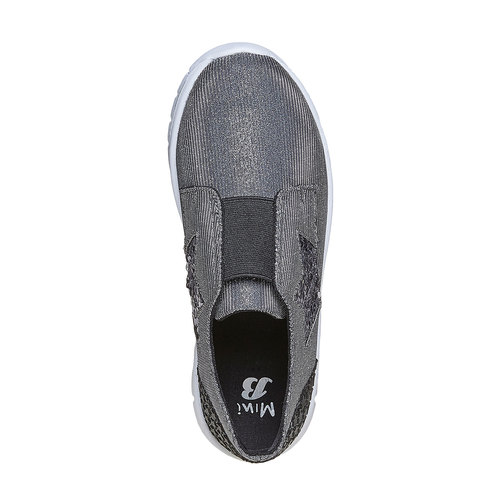 Sneakers da ragazza con strass mini-b, grigio, 329-2214 - 19