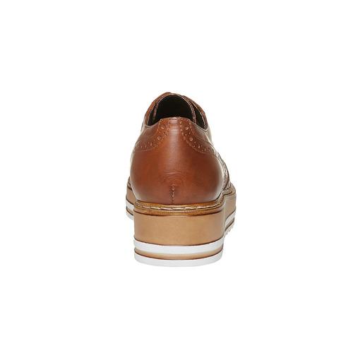 Scarpe basse di pelle con flatform bata, marrone, 524-3255 - 17