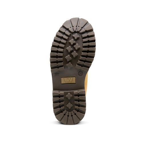 Scarpe da bambino in pelle con suola appariscente weinbrenner-junior, giallo, 396-8182 - 17