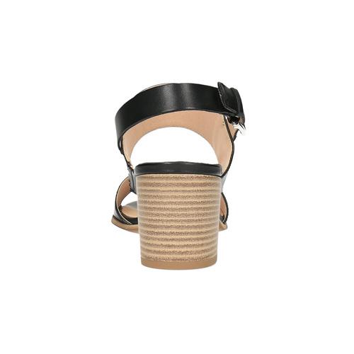 Sandali di pelle con tacco ampio bata, nero, 664-6205 - 17
