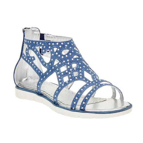 Sandali in pelle con pietre mini-b, blu, 363-9170 - 13
