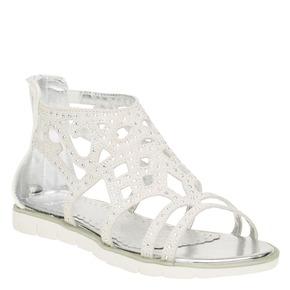 Sandali in pelle con pietre mini-b, bianco, 363-1170 - 13