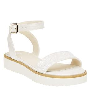 Sandali con flatform con strass mini-b, bianco, 361-1165 - 13