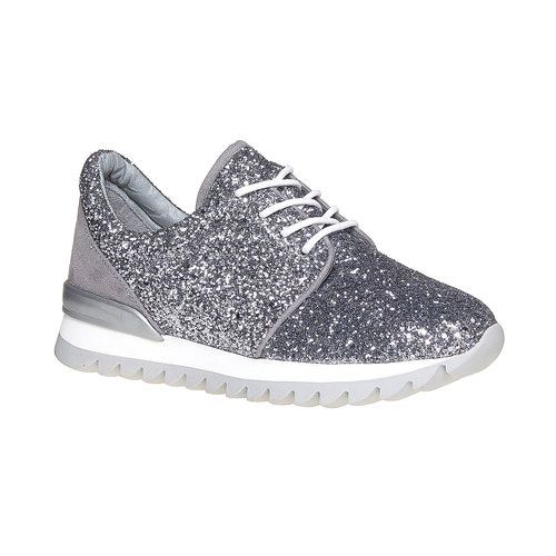 Sneakers da donna con glitter north-star, argento, 549-1262 - 13