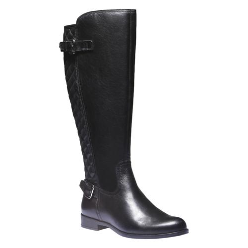 Stivali di pelle con cuciture bata, nero, 594-6525 - 13