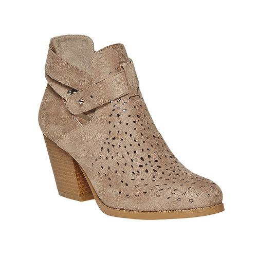 Stivaletti alla caviglia con perforazioni bata, beige, 799-8627 - 13
