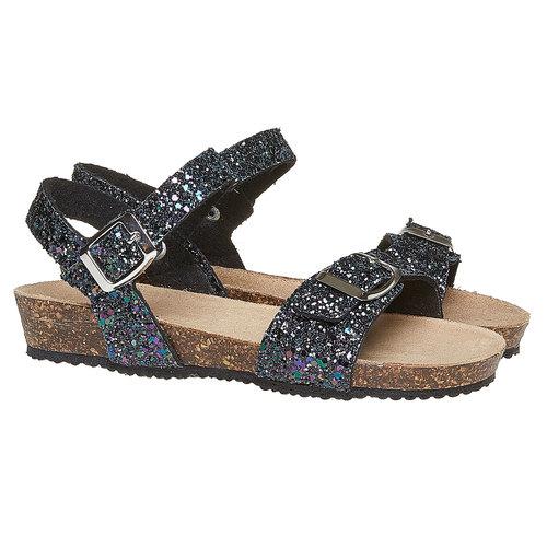 Sandali con glitter e suola di sughero mini-b, nero, 369-6189 - 26