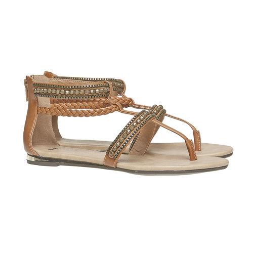 Sandali da donna con strisce decorate bata, marrone, 561-3330 - 26