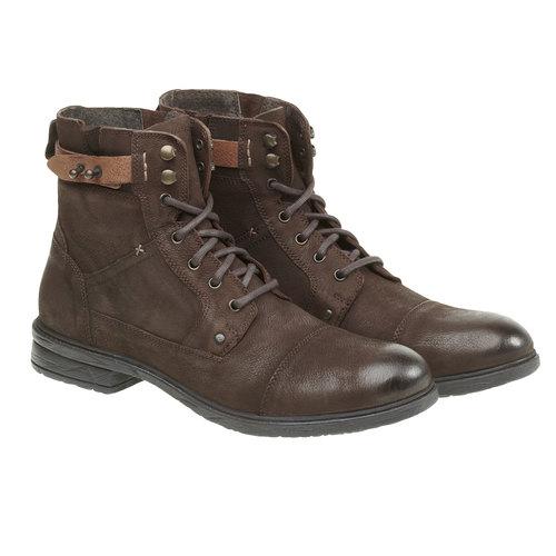 Scarpe di pelle alla caviglia bata, marrone, 894-4165 - 26