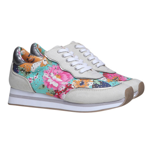 Sneakers da donna con motivo floreale north-star, verde, 549-7211 - 26