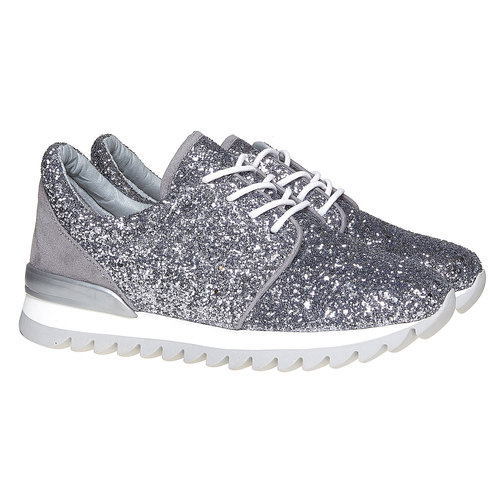 Sneakers da donna con glitter north-star, argento, 549-1262 - 26