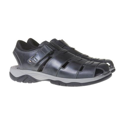 Sandali da uomo in pelle weinbrenner, nero, 864-6213 - 26