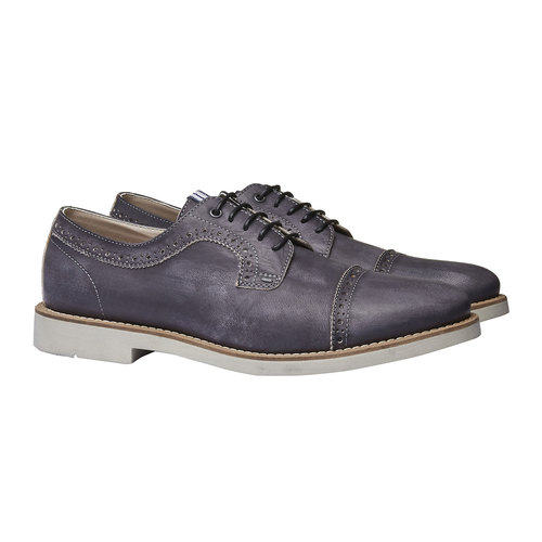 Scarpe basse informali di pelle bata, nero, 824-6856 - 26