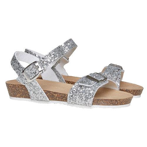 Sandali con glitter e suola di sughero mini-b, grigio, 369-2189 - 26