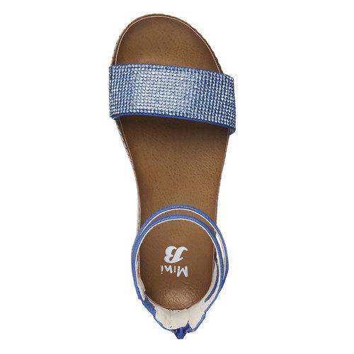 Sandali da ragazza con strass mini-b, blu, 361-9161 - 19