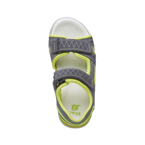 Sandali da bambino con strisce di pelle mini-b, grigio, 264-2166 - 19