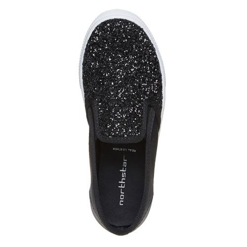 Slip-on da ragazza con glitter north-star, nero, 329-6235 - 19