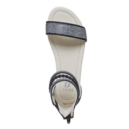 Sandali da ragazza con strass mini-b, nero, 361-9178 - 19