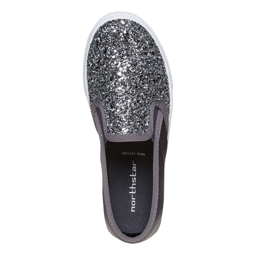 Slip-on da ragazza con glitter north-star, grigio, 329-2235 - 19