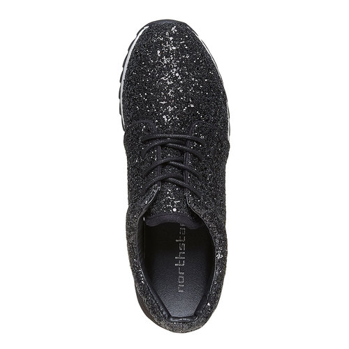 Sneakers nere da donna con glitter north-star, nero, 549-6262 - 19