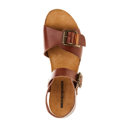 Sandali da donna con strisce weinbrenner, marrone, 664-4193 - 19