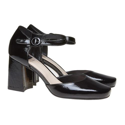 Sandali verniciati in pelle con punta chiusa bata, nero, 728-6372 - 26