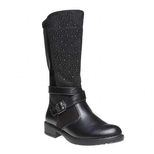 Stivali da ragazza con strass mini-b, nero, 291-6166 - 13