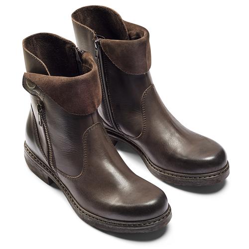 Scarpe di pelle alla caviglia weinbrenner, marrone, 594-4874 - 19
