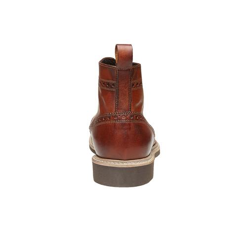 Scarpe in pelle sopra la caviglia con decorazione Brogue, marrone, 824-3183 - 17