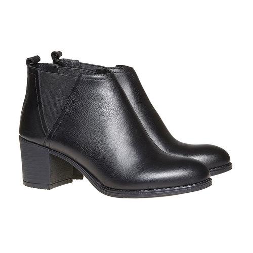 Stivaletti da donna di pelle alla caviglia bata, nero, 694-6384 - 26