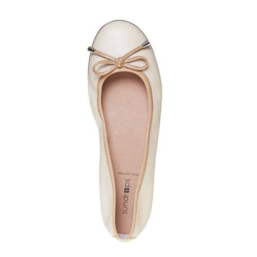 Ballerine da donna in pelle bata, beige, 524-8485 - 19