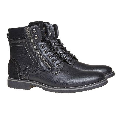 Scarpe da uomo alla caviglia, nero, 891-6568 - 26