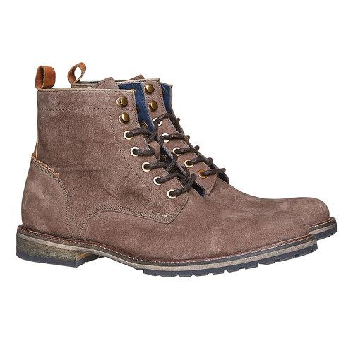 Scarpe in pelle da uomo alla caviglia bata, marrone, 893-4357 - 26