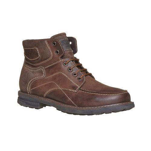 Scarpe alla caviglia da uomo in pelle bata, marrone, 896-4687 - 13