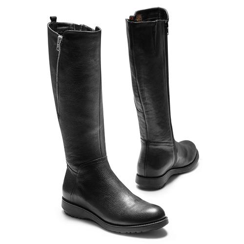 Stivali di pelle con suola flessibile flexible, nero, 594-6651 - 19