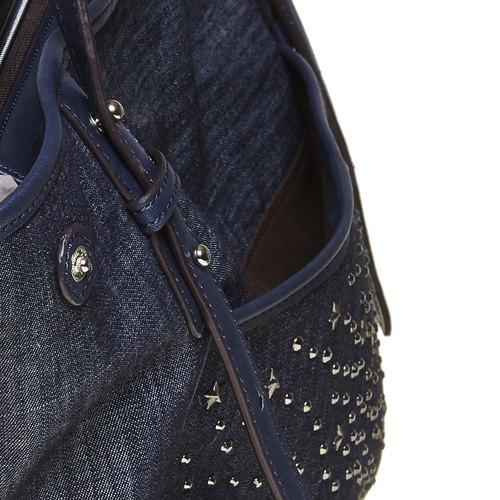 Borsa da donna con borchie bata, blu, 969-9264 - 17