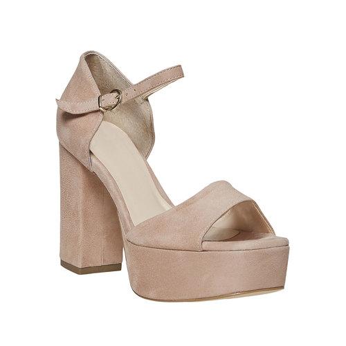 Sandali di pelle con tacco bata, beige, 763-8568 - 13