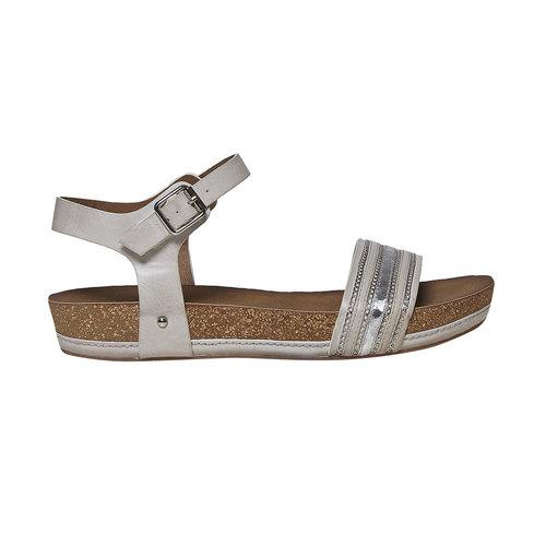 Sandali da donna con flatform bata, grigio, 561-2404 - 15