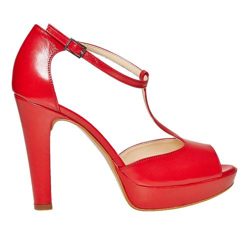Sandali rossi con tacco bata, rosso, 724-5708 - 15