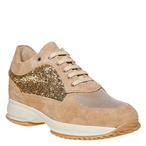 Sneakers in pelle da donna con glitter bata, giallo, 523-8583 - 13