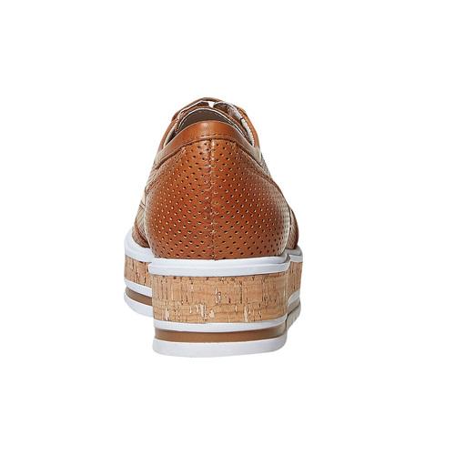 Scarpe da donna in pelle con perforazioni bata, marrone, 524-3584 - 17