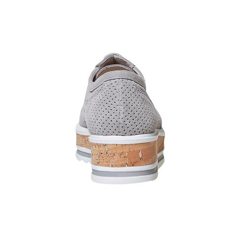 Scarpe in pelle da donna con flatform bata, grigio, 513-2117 - 17