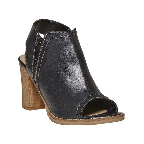 Scarpe in pelle da donna con tacco bata, nero, 724-6530 - 13