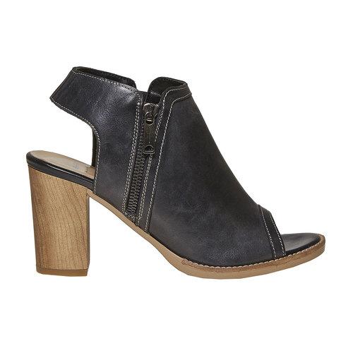 Scarpe in pelle da donna con tacco bata, nero, 724-6530 - 15
