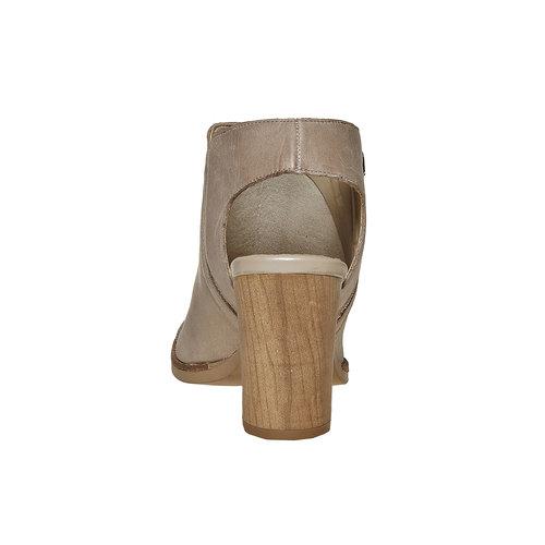 Scarpe in pelle con punta aperta bata, beige, 724-2530 - 17