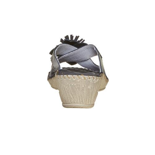 Pantofole in pelle con frange, nero, 674-6121 - 17