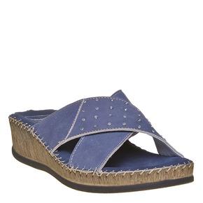 Slip-on in pelle da donna, blu, 574-9320 - 13