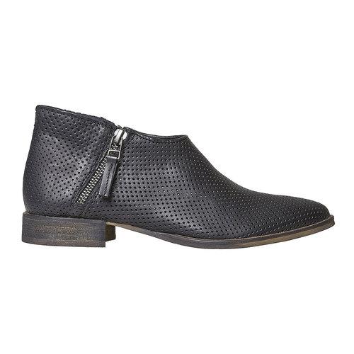 Stivaletti di pelle alla caviglia con perforazioni bata, nero, 594-6400 - 15