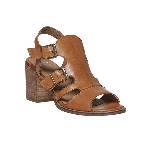 Sandali in pelle con fibbie bata, marrone, 764-4558 - 13