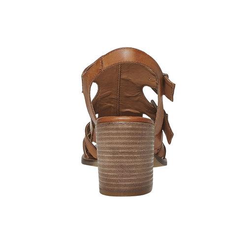 Sandali in pelle con fibbie bata, marrone, 764-4558 - 17